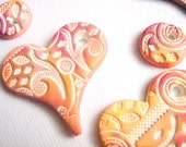 5 Handmade Lace Heart Pendants