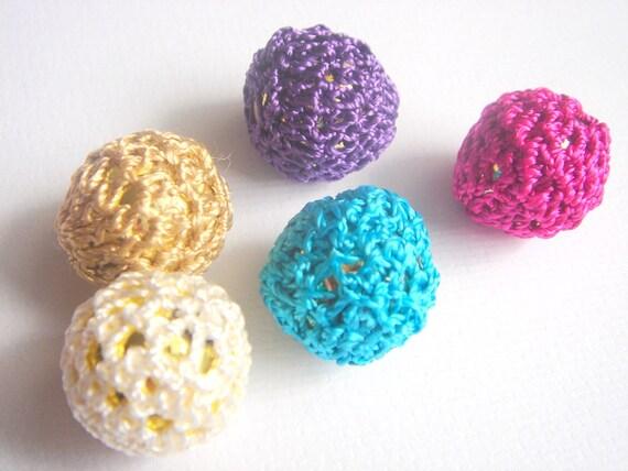 5 Textile Knit Plastic Beads  -20mm
