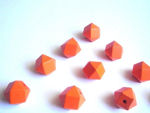 Geometric Orange Wood Beads -20mm Big Hole Geometric Jewelry