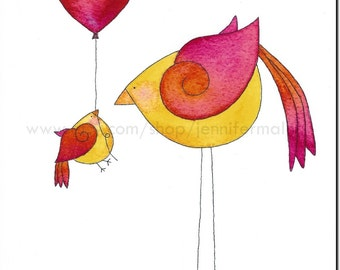 Birds with Balloon 8x10 art print