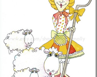 Bo Peep with her Sheep 8x10 art print