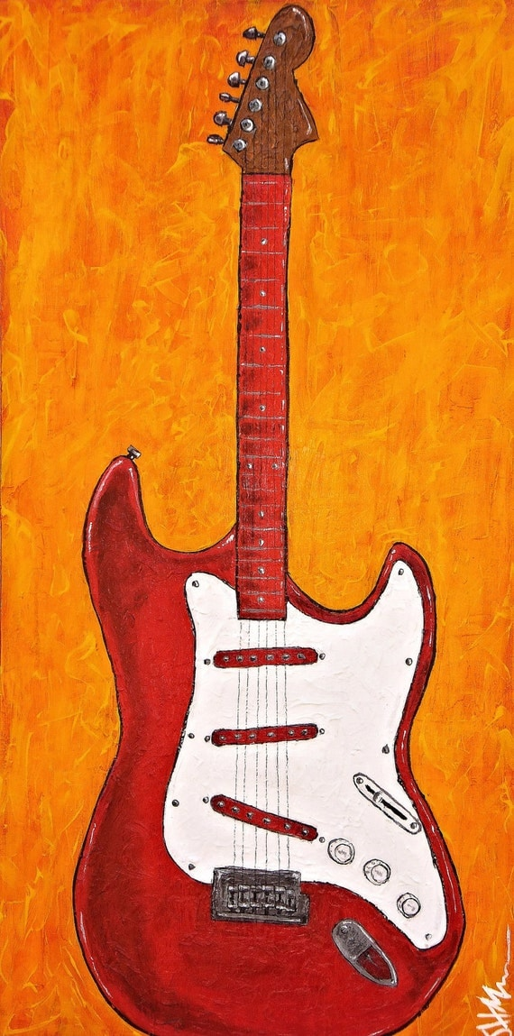 items similar to original acrylic painting electric guitar