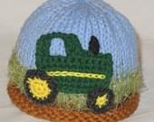 Tractor, Tractor Hat, Knit Tractor Hat, Knit Baby Hat, Tractor in Field Hat,  Baby Hat, Cotton Tractor, Infant Tractor Hat, Farmer Hat