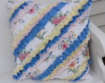 """Chic Floral Ruffled Pillow Cover - 16"""" x 16"""" - Handmade, White/Green/Pink/Blue/Yellow, Envelope Style Closur"""