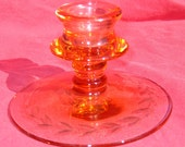 Etched Glass Candlestick