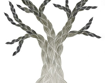 India Ink Tree Print, Archival Print of an Original Ink Painting