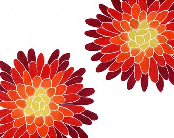 Ombre Mums, Giclee Print of an Original Flower Painting