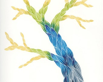Technicolor Tree, Original Watercolor Painting, Abstract Art by Keely Finnegan