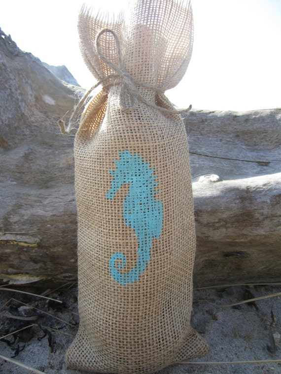 Burlap wine bag with hand stenciled seahorse