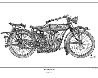 Indian V-Twin,1914 -Original Handmade Drawing Fine Print, 11.5x16 in. (29x41 cm), Limited Edition print Classic motorcycle Art Print