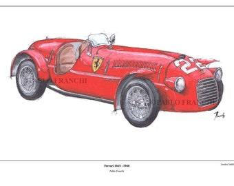 Ferrari 166S, 1948,original art print, Cars portraits on request,Original Handmade Art Print,11.5x16 in,husband's birthday, man cave decor