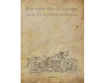 Customized print, BMW R51, 1938, Motorcycles quote,  A3 - 11.5x16 in., choose another quote