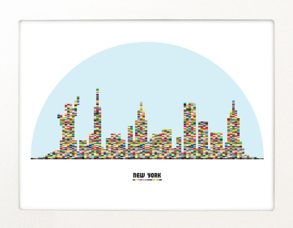 NY city skyline Poster LEGO pieces. Snow globe - A3 size Poster print - New York City Poster Silhouette rainbow colors NY Poster