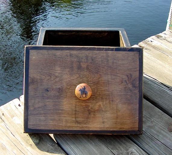 Wooden Decorative Storage Box with Cowboy Handle