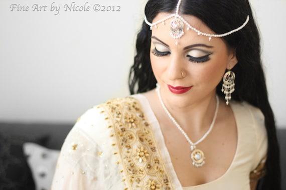 lotus flower Indian jewelry pearl wedding set