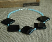 Bold Black Agate Statement Necklace, Large Faceted Black Necklace, Bold Agate and Light Blue Quartz Necklace