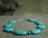 Bold Turquoise Statement Necklace, Large Chunky  Oval Turquoise Necklace, Large Turquoise Necklace