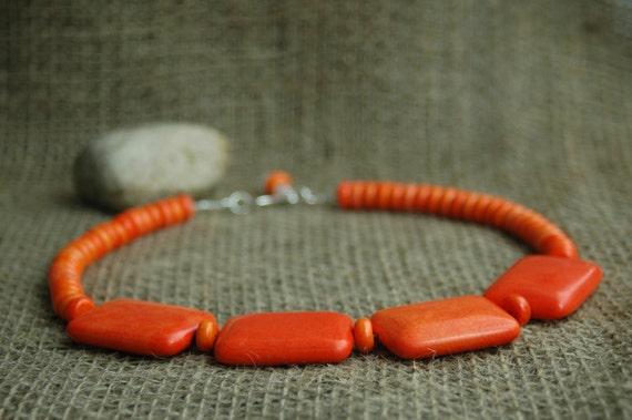 Bold Orange Geometric Necklace- Large Orange Squares Statement Necklace