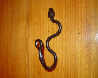 Snake Wall Hook Crawling Up Wrought Iron , Hand Forged, Folk Art  Metal Wall Hook