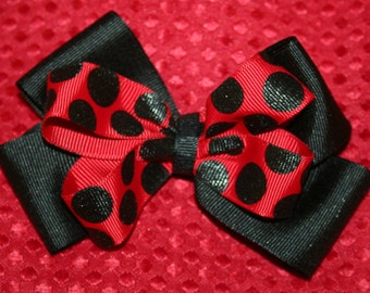 Red and Black Polka Dot Bow