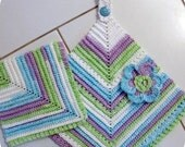 Scrubbie Towel CROCHET PATTERN Set Vintage Look Towel, Dishcloth, Scrubbie Kitchen Set (3 piece set)