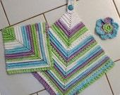 CROCHET PATTERN Dishcloth Scrubbie Towel Vintage Look Towel, Dishcloth, Scrubbie 3 piece