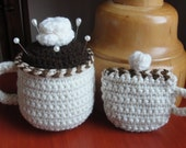 Coffee Cup CROCHET PATTERN Pincushion and Tape Measure Cozy