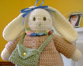 CROCHET PATTERN Bunny Rabbit Doll or Home Decor Bookbag Bunny