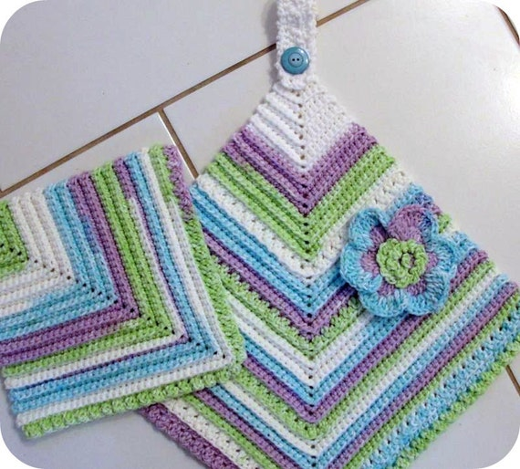 Crochet Patterns Kitchen Towels : BEGINNER CROCHET PATTERN Scrubbie Towel Set Vintage Look