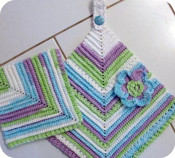 Crochet Pattern Kitchen Towel : Items similar to Scrubbie Towel CROCHET PATTERN Set ...