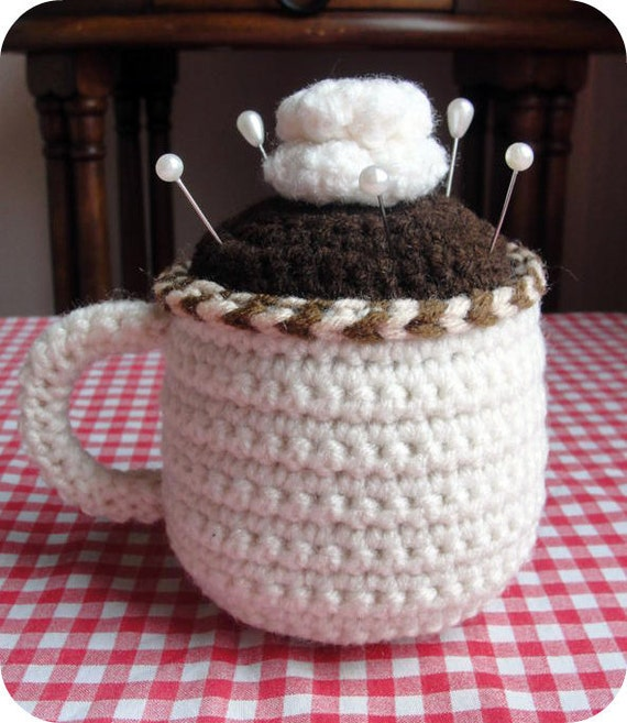 EASY Coffee Cup CROCHET PATTERN Pincushion and Tape Measure Cozy