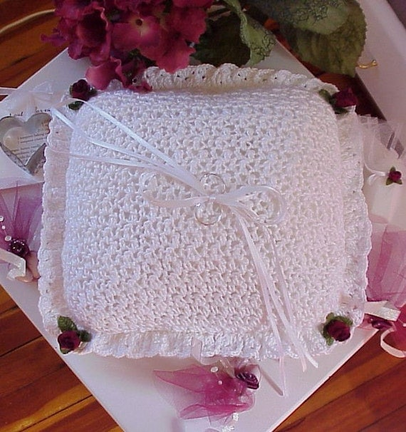 Crochet Wedding Garter: CROCHET PATTERN Wedding Ring Bearer Pillow BRIDAL