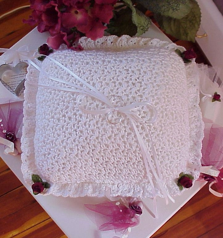 Crochet Pattern Wedding Ring Bearer Pillow Bridal