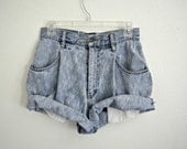 High-Waisted Jean Roll-Up Shorts