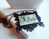 Alice In Wonderland Tea Party Frame Painting Black Necklace