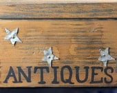 Adorable Primitive Little Wooden Box - Tin Stars Antique Storage