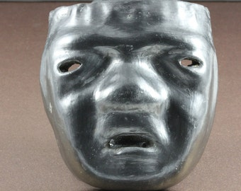 Charcoal Gray Black Tribal Small Vintage Handmade Clay Mask - Mexico