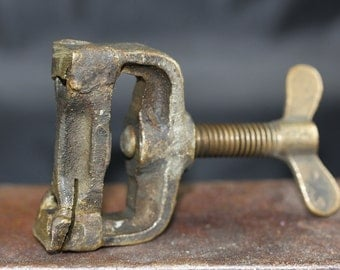 Vintage Solid Brass Rustic Vise/Clamp Tool Steampunk Altered Arts Mixed Media Assemblage
