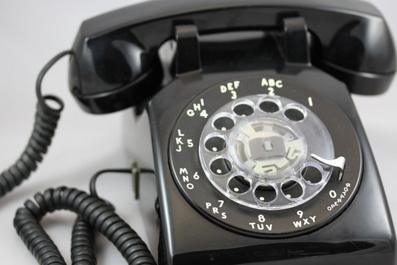 Pacific Northwest Bell Black Rotary Dial Retro Desktop Telephone- 500DM