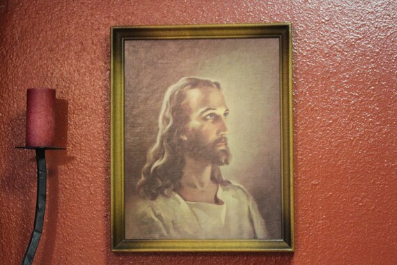 Vintage Litho Oil Painting of The Head of Christ by Warner Sallman
