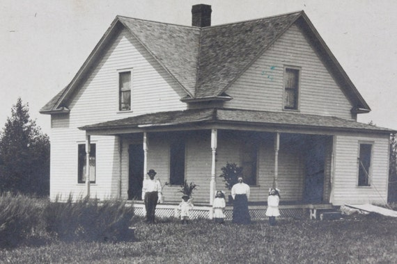 Old Homestead Vintage Black and White Photograph Postcard