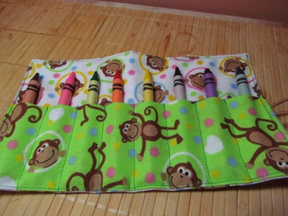 oN SALE - Fabric Crayon Roll Up with monkey print - makes a great party favor, ask me about custom orders