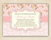 Pink Shabby Chic Floral and Damask - Baby Shower Invitation - Printable - DIY - 4x6 or 5x7