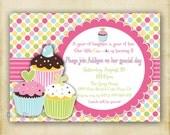 Polka Dot Cupcake Birthday Invitation - Printable DIY