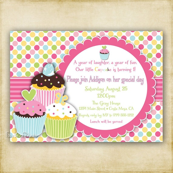 Items similar to Polka Dot Cupcake Birthday Invitation ...