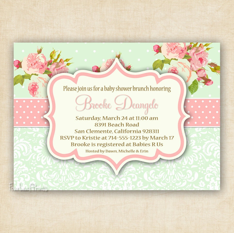 Green and Pink Shabby Chic Floral and Damask by FourLeafPrints