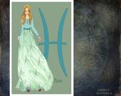 "Pisces-fashion illustration-Greeting Card (5.5""x8"")"