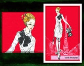 "Paris Treasures- fashion illustration- Blank 5. 5""x8"" greeting card"