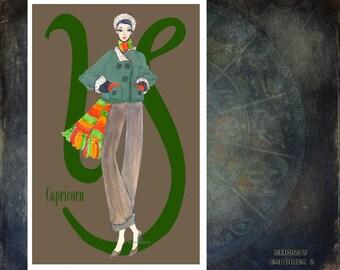 "Capricorn-fashion illustration-Greeting Card (5.5""x8"")"