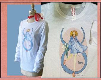 Taurus -fashion illustration- white Bella long sleeve tee